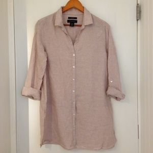 Tahari Medium Weight 100% Taupe Linen Size Medium